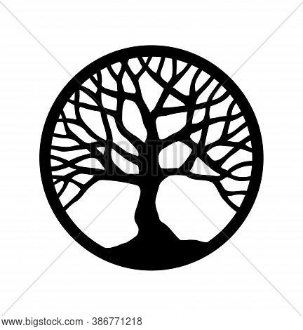 Vector Black Round Tree Outline Silhouette Drawing Illustration In Circle.tree Of Life.family Tree L