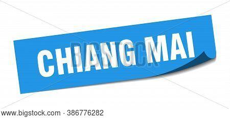 Chiang Mai Sticker. Chiang Mai Blue Square Peeler Sign