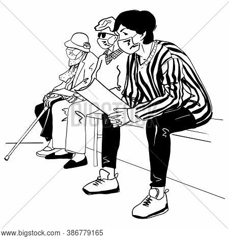 Sketch Of Group Of People Siting And Waiting For Doctor In Medical Masks. Black Vector Illustration