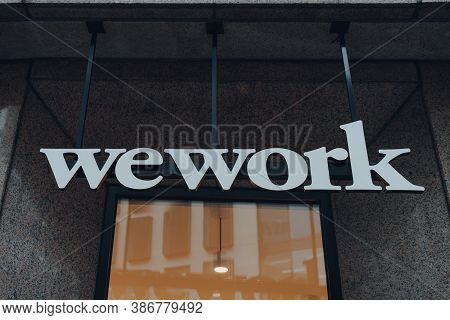 London, Uk - August 24th, 2020: Name Sign Outside Wework In City Of London. Founded In 2010, Wework