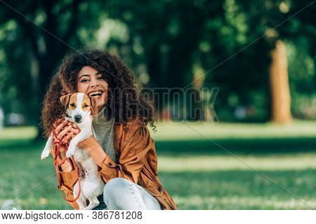 Young Woman In Raincoat Holding Jack Russell Terrier And Looking At Camera In Park