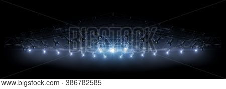 Lighting Equipment On A Stage. Blue Light. Spotlight Shines On The Stage, Scene, Podium. Bright Ligh