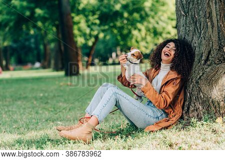 Selective Focus Of Laughing Woman In Raincoat Playing With Jack Russell Terrier In Park