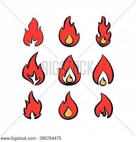 Fire Flames Vector Logo Set. Fire Icon, Fire Icon Vector, Fire Icon Picture, Fire Icon Flat, Fire Ic