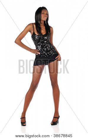 Beautiful Black Woman wearing a black dress isolated on a white background