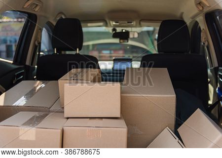 Deliver Car Have Many Boxes Post In Full Back Car Preparing For Send To Customer
