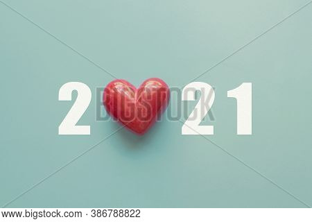 2021 With Red Heart. Happy New Year For Heart Health Insurance, Donation And Medical Concept,  New Y