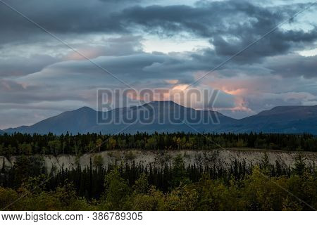 Beautiful View Of Canadian Mountain Landscape During A Colorful Cloudy Sunset. Located Near Whitehor