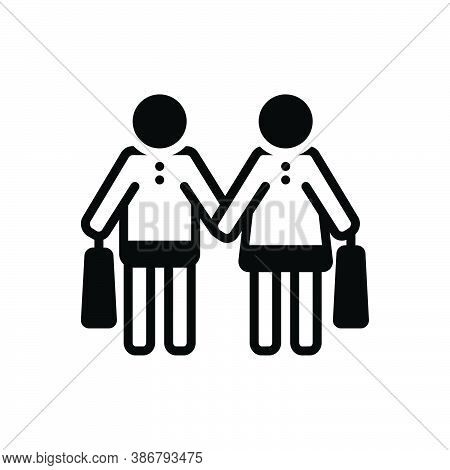 Black Solid Icon For Couple Purchase Shopping Consumer Prospective-buyer Buy Commercial
