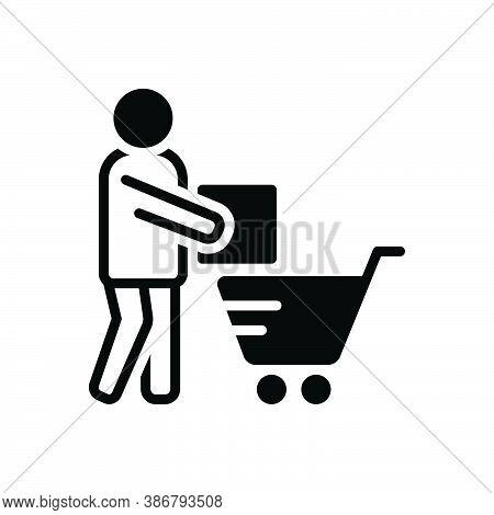 Black Solid Icon For Customer Regular-shopper Clientele Underwriter Trolly Purchaser Vendee Consumab