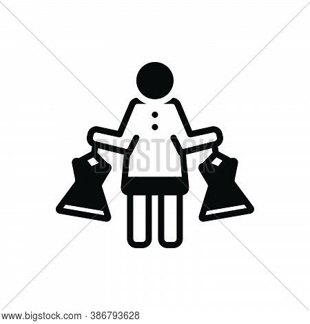 Black Solid Icon For Dress-shopping Purchase Cloths Fashion Shopping Mall Consumer Prospective-buyer