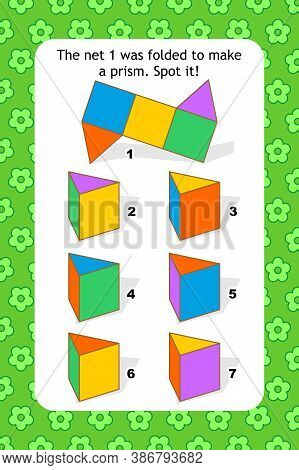 Abstract Educational Visual Puzzle With Triangular Prisms. Spacial Reasoning Skills Training.