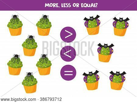More, Less Or Equal With Halloween Muffins.