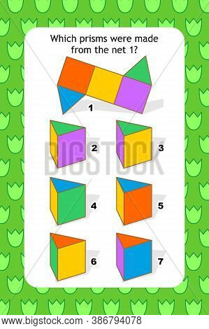 Educational Visual Puzzle With Net And Triangular Prisms. Spacial Reasoning Skills Training.