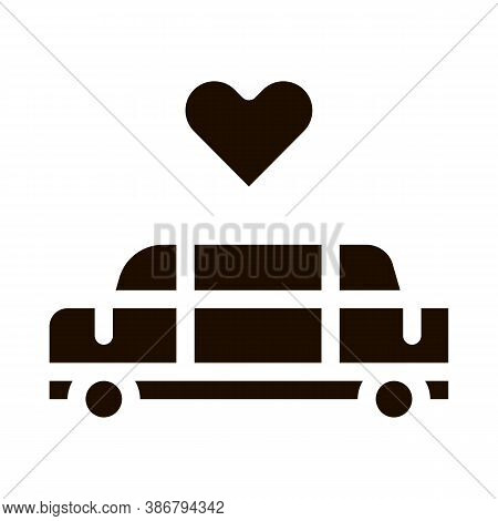 Car Limousine For Wedding Ceremony Glyph Icon . Limousine For Transportation Married Pictogram. Part