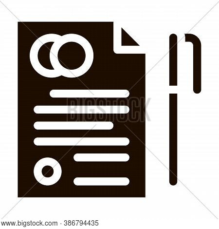 Pre-nuptial Agreement Sign Glyph Icon. Prenuptial Agreement On Paper List And Pen Pictogram. Party P