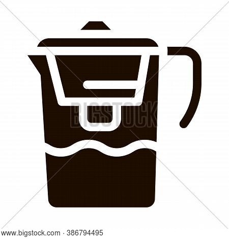 Healthy Water Home Filter Vector Icon. Filtered Healthcare Water, House Office Equipment Pictogram.