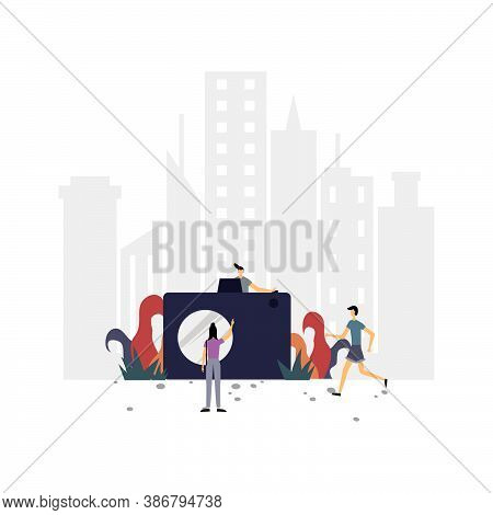Pose With The Camera Flat Illustration.vector Design Template.suitable For Landing Page, Ui, Website