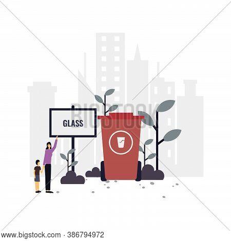 Waste Disposal Education Flat Illustration.vector Design.suitable For Landing Page, Ui, Website, Mob