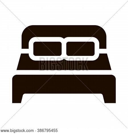 Motel Comfortable Double Bed Vector Icon. Bedroom Twin Room Bed, Hotel Performance Of Service Equipm