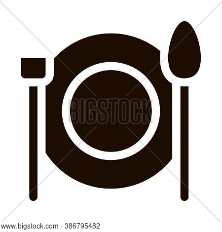 Plate Fork And Spoon Vector Sign Icon. Plate With Flatware Restaurant Mark, Hotel Performance Of Ser
