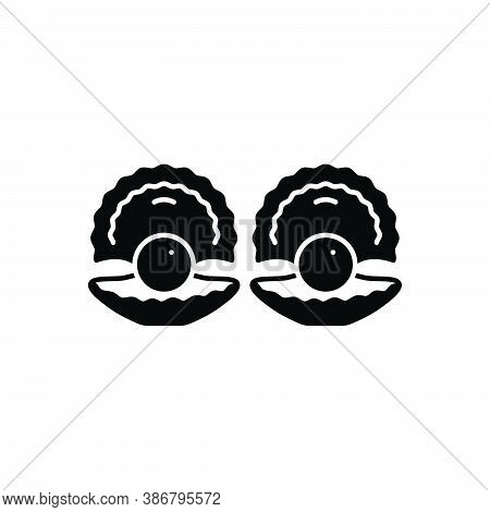 Black Solid Icon For Clams Shell Nautical Sea Aqua Mollusk Pearl Cherrystone