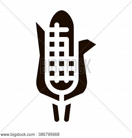 Healthy Food Vegetable Maize Vector Sign Icon . Veggy Bio Eco Agriculture Maize Corn Pictogram. Orga