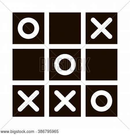 Kids Game Noughts And Crosses Vector Sign Icon . Baby And Adult Table Game Children Playing Gaming I