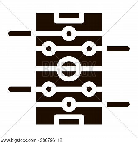 Interactive Kids Table Football Vector Sign Icon . Football Foosball Soccer Game Children Playing Ga