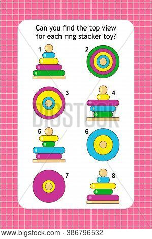 Visual Puzzle With Top View Of Colorful Ring Stacker Toys. Spacial Reasoning Skills Training.