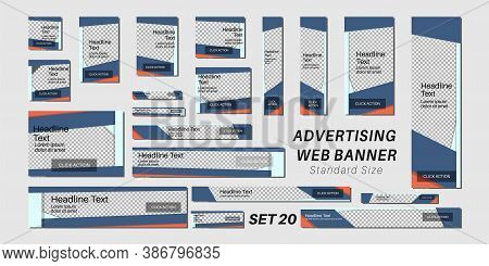 Vector Ad Web Banner With Standard Size. Design Template For Your Promotion