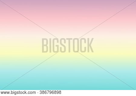 Abstract Background With Smooth Gradient Purple, Pink, Green, Yellow Color Sea Twilight Time. For Wa