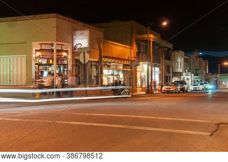 Santa Fe Usa _ September 15 2015; Buildings Of Pueblo Style Architecture, Light Trails And Signs In