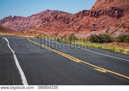 Western Road At Sunset, Desert Highway Of The American Southwest
