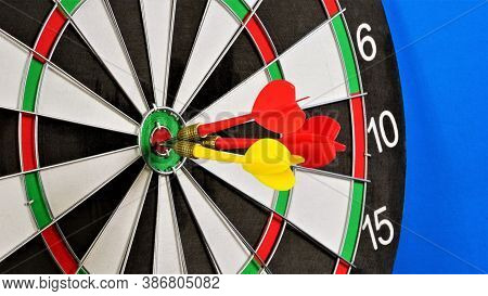 Target Darts. Regular Accurate Hit On The Target. Successful Strategy In Education, Sports And Busin