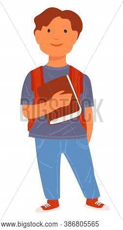 Pupil Holding Book, Schoolboy With Satchel At School