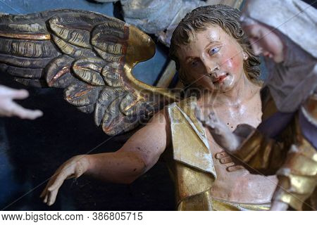 KRAPINA, CROATIA - JULY 01, 2013: Angel statue on the altar of Fourteen holy helpers in Church of Our Lady of Jerusalem at Trski Vrh in Krapina, Croatia