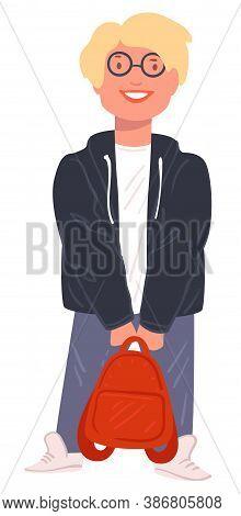 Hipster Pupil Wearing Glasses Holding Satchel, Schoolboy Vector