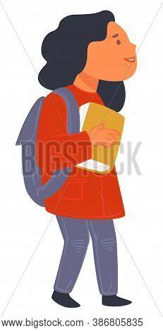 Schoolgirl Wearing Satchel And Holding Small Book Vector