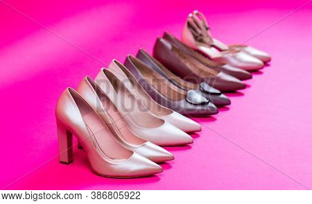 Fashionable Women Shoes Isolated On Pink Background. View From Above. Shoe For Women. Stylish Classi