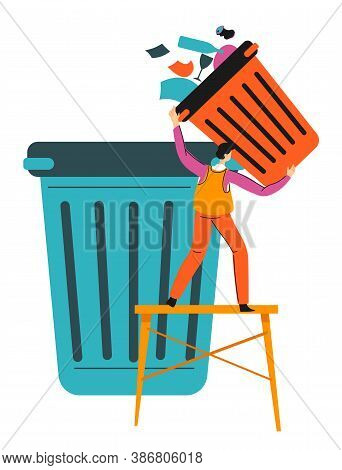 Collecting And Sorting Garbage, Recycling Paper Waste Vector