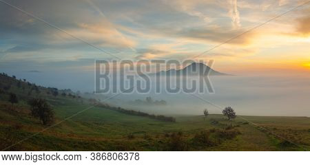 View From Rana Hill.misty Morning In Central Bohemian Highlands, Czech Republic. Central Bohemian Up