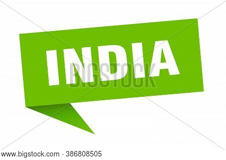 India Sticker. Green India Signpost Pointer Sign