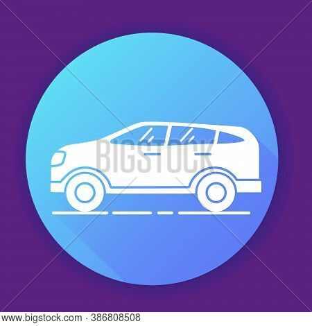 Suv Car Icon On Blue Background. Flat Vector Illustration.