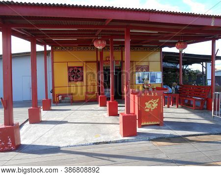 Georgetown, Penang, Malaysia, November 13, 2017: Porch Of A Temple In Chew Jetty, The Floating Town