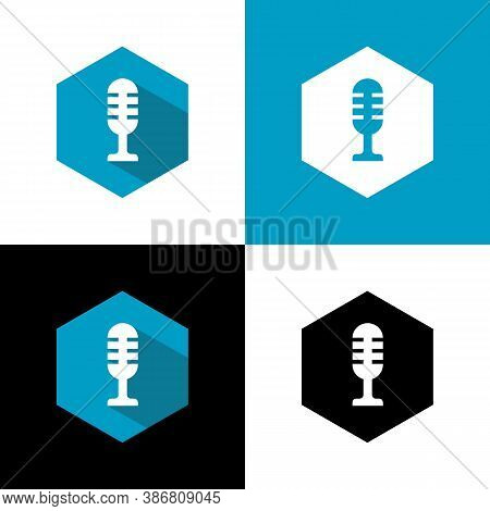 Simple Microphone Icon, Flat Design Style, Mic Or Mike Symbol