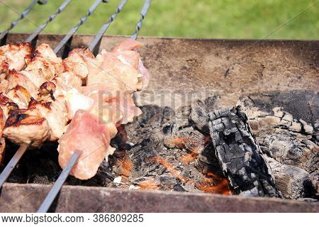 Meat Skewers On Skewers Are Grilled In The Open Air. Picnic Concept. Meat Raw And Fried On Skewers