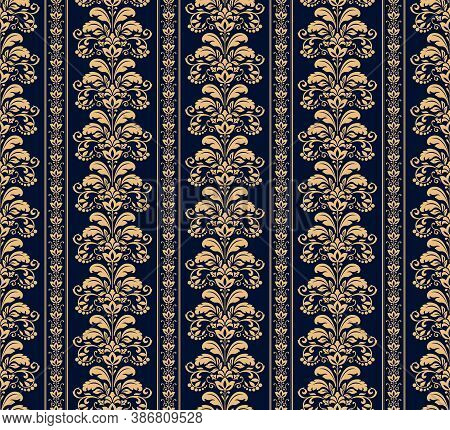 Wallpaper In The Style Of Baroque. Seamless Vector Background. Gold And Dark Blue Floral Ornament. G
