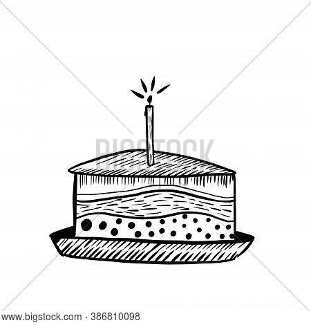 Graphic Illustration Of The Cake. A Piece Of Birthday Cake With A Candle In Black And White. Minimal