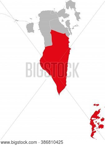 Janabiyah Northern Governorate Isolated On Bahrain Map. Business Concepts And Backgrounds.